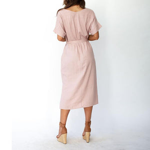 Sexy Solid Color V-Neck Short Sleeves Dress