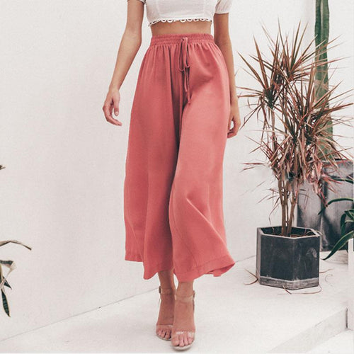 Sexy Fashion Solid Color Loose Long Pant