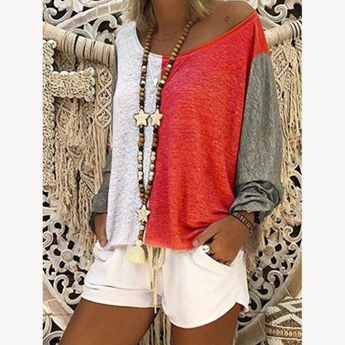 Sexy Fashion Long Sleeves Contrasting Colors T-Shirt