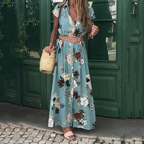 Bohemian Retro Holiday V-Neck Loose Maxi Dress