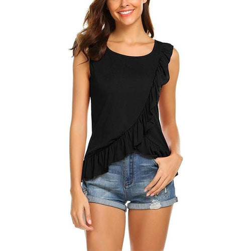 Sexy Fashion Pure Color Sleeveless Short Sleeve Irregular T-Shirt