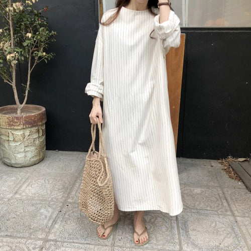 Sexy Stripes Round Neck Long Sleeve Dress