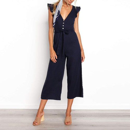 Women Sexy V Neck Ruffled Solid Color Short Sleeve Jumpsuit