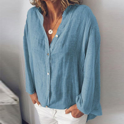 Sexy Solid Color V-Neck Loose Long Sleeves Shirt