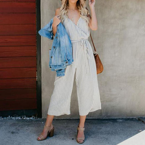 Sexy Stripes V Neck Backless Sling Jumpsuits