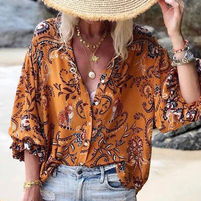 Boho Turndown Collar Printed Colour Loose Blouse