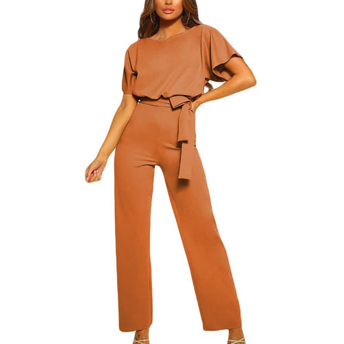 Round Neck Pure Color Short Sleeve Jumpsuits