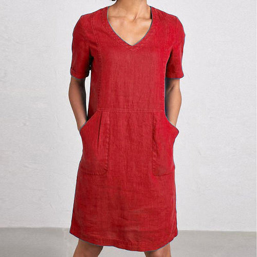 V Neck Pure Color Short Sleeve Casual Dress