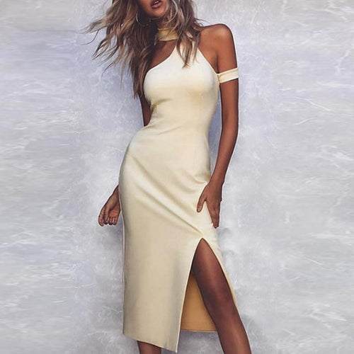 Fashion Solid Color Sleeveless Split Thigh Dress