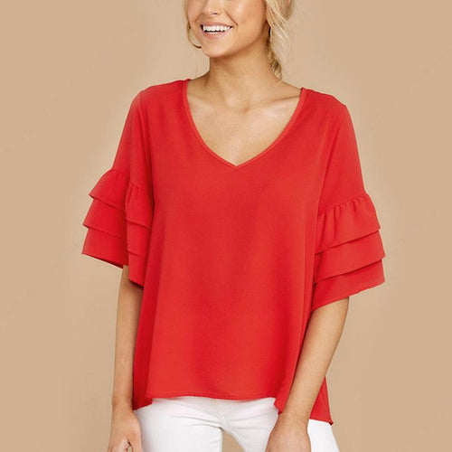 Fashion Pure Color Horn Sleeve Loose Shirt