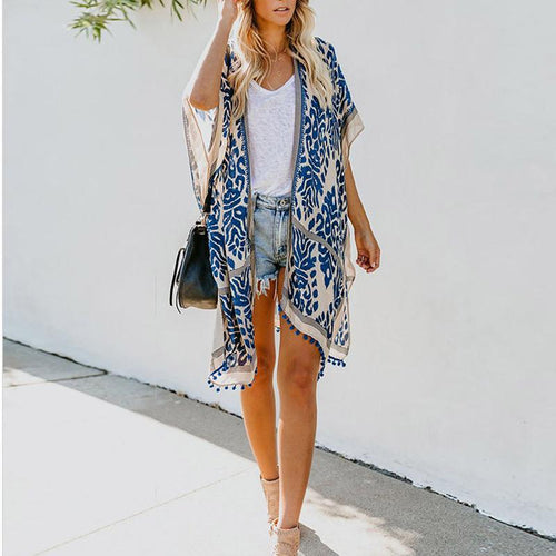 Fashion Print Tassel Loose Sunscreen Shirt