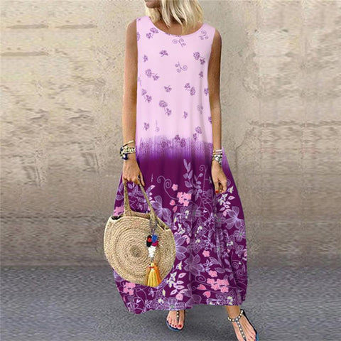 Fashionable Sleeveless Printing Casual Dresses