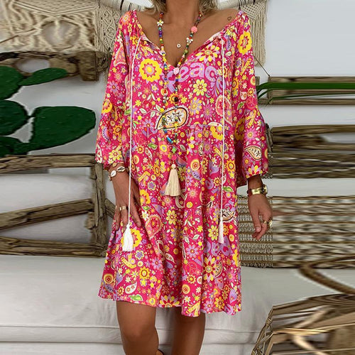 Casual V Neck Bracelet Sleeve Splicing Printed Colour Loose Dress