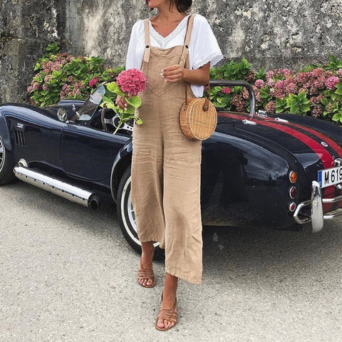 Linen Casual Fashion Strap Solid Color Jumpsuit