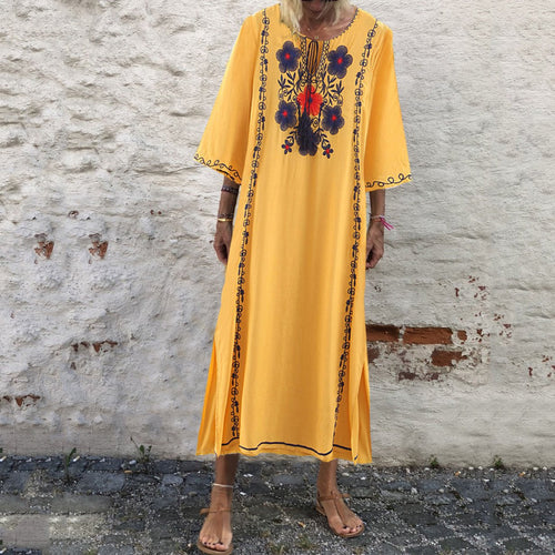 Boho Inwrought Loose Belted Casual Maxi Dress