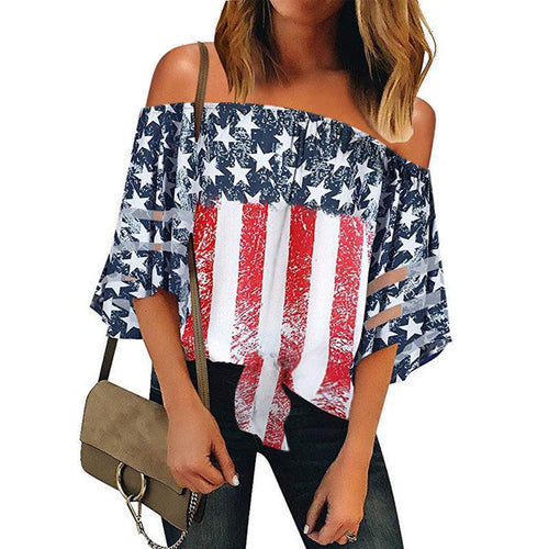 Casual Boat Neck Hollow Out Off-Shoulder Printed Colour Top