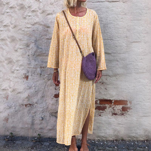 Casual Round Neck Splicing Long Sleeve Maxi Dress