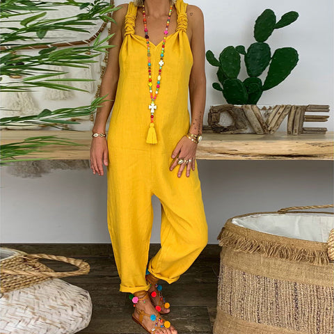 Casual Pure Colour V Neck Sleeveless Loose Jumpsuit