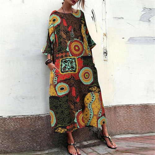 Vintage Round Neck Bracelet Sleeve Printed Casual Maxi Dress