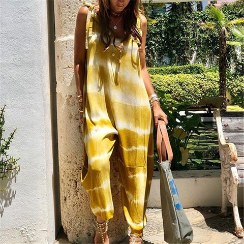 Fashion Gradient Striped Sleeveless Loose Jumpsuits