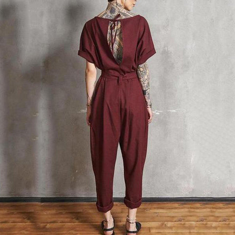Casual Round Neck Short Sleeve Pure Colour Jumpsuit