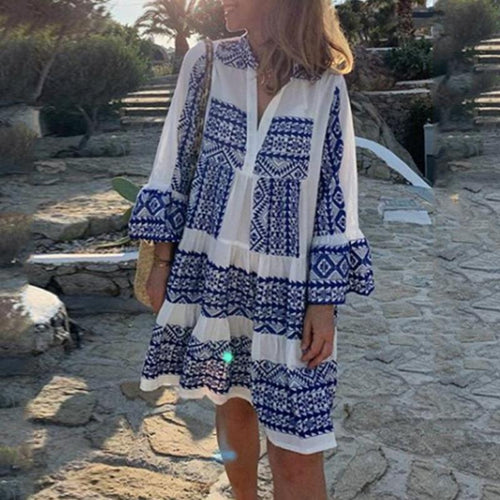 Fashion V-Neck Print Casual Vacation Mini Dress