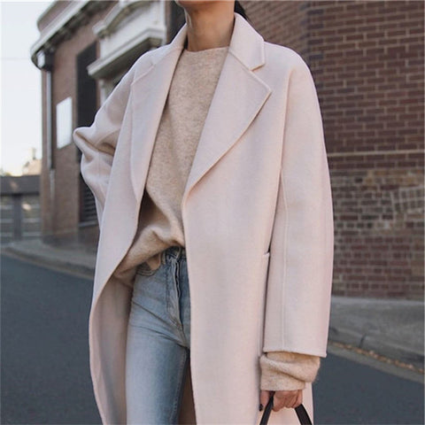 Fashion Large Lapel Long-Sleeved Solid Color Coats