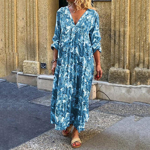 Women's Bohemian V Neck Middle Sleeve Loose Dress