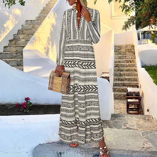 Women's Bohemian Print Long Sleeve Dress