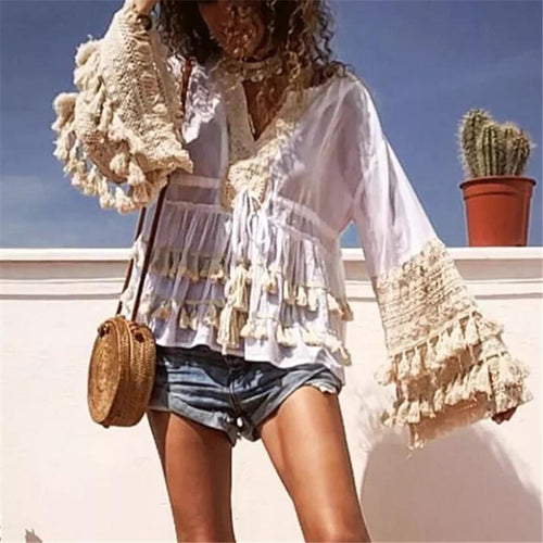 V-Neck Tassel Long-Sleeved Top