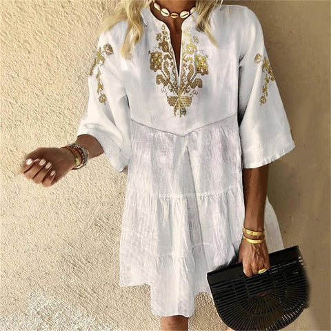 V-Neck Mid-Sleeve Printed Stitching Casual Mini Dress