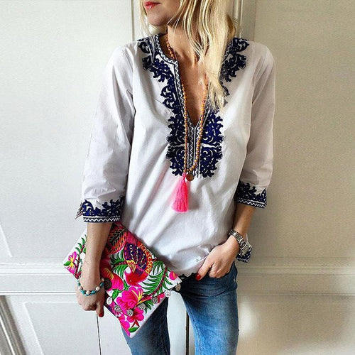 Fashion V-Neck Ethnic Style Print Blouse