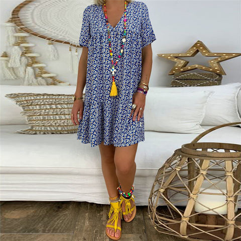 Casual V-Neck Printed Short Sleeve Loose Dresses
