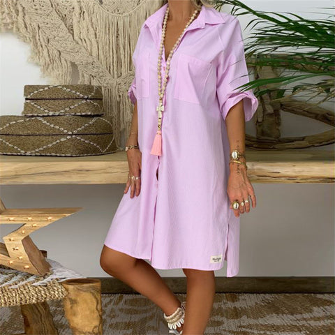 White Pink Striped Mini Dress Shirt Dress