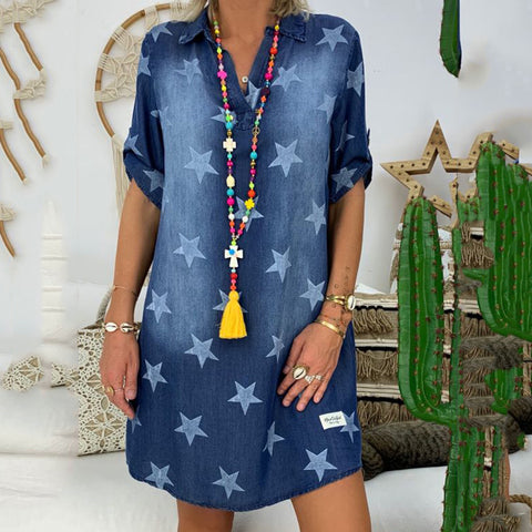 Star Print Cusual Style Denim Dress