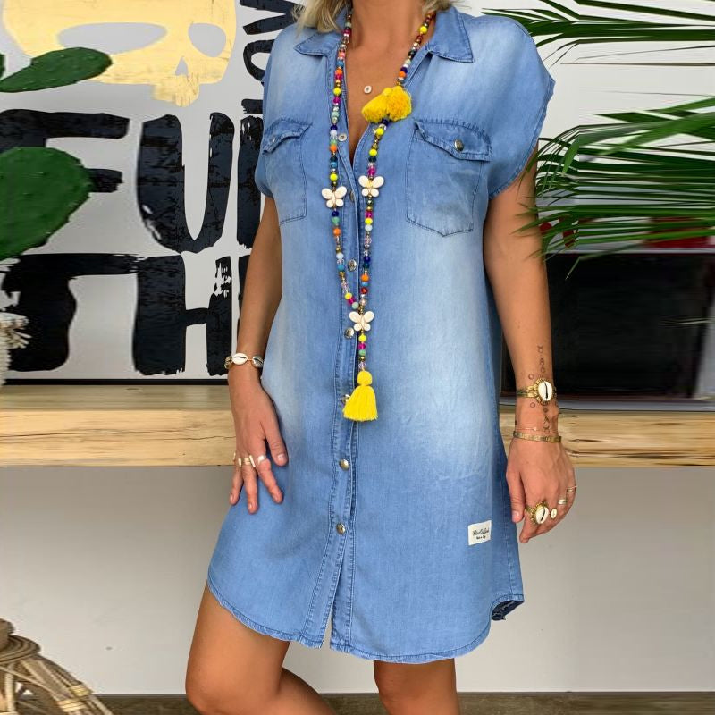 Pocket Casual Women Denim Dress