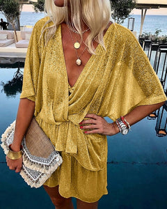 Fashion Paillette Batwing Sleeve V Neck Ruffled Dress