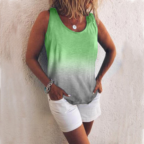 Casual Gradient Sleeveless Round Neck Tank Top