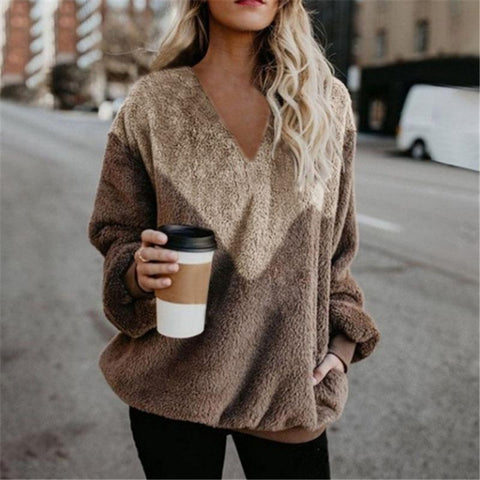 Casual V Neck Long Sleeve Contrast Color Sweatshirt