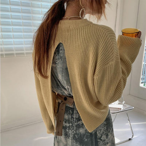 Glamorous Round Neck Backless Slit Sweater