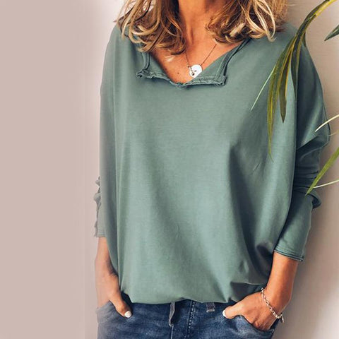 Women Casual Loose Long Sleeve Plain T-Shirt