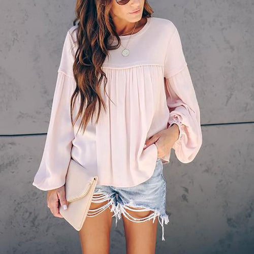Commuting Bubble Sleeves Pure Color Splicing Blouse