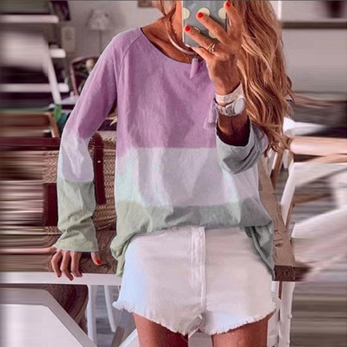 Color Matching Loose Thin  Long-Sleeved T-Shirt
