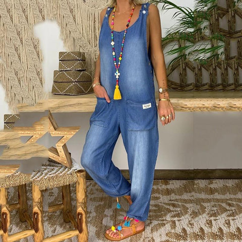 Fashion Loose Fitting Denim Jumpsuit