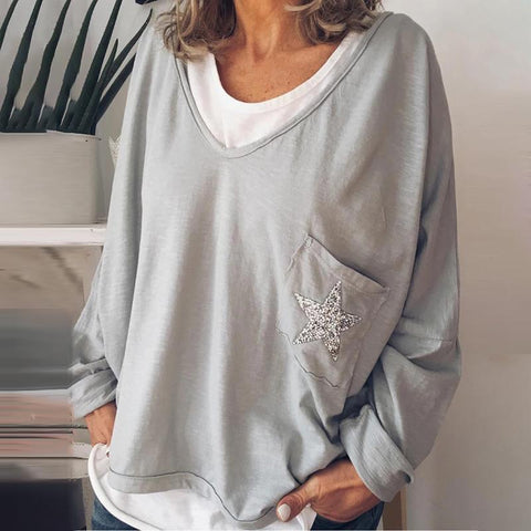 Casual False Two-Piece Pure Color Shoulder Sleeve T-Shirt