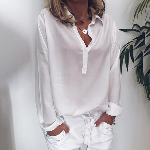 Brief Turndown Collar Long Sleeve Pure Colour Loose Blouse