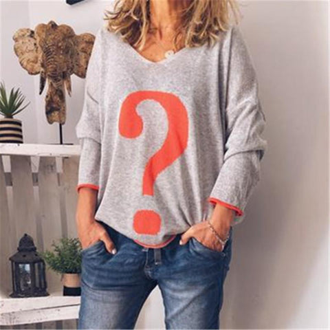Question Mark Printed V-Neck Long Sleeve T-Shirt