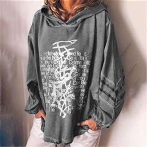 Fashion Casual Loose Letter Print Hooded