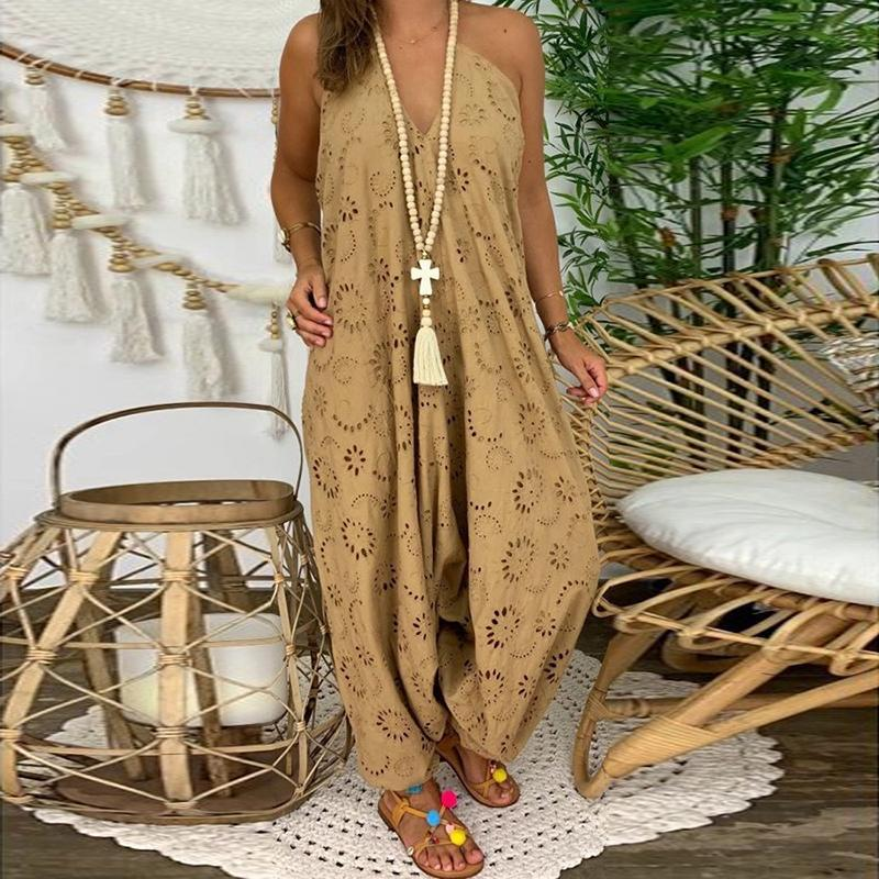 Fashion Sexy Halter Hollow Out Sling Loose Jumpsuit