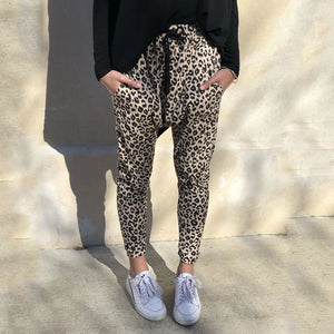 Street Style Leopard Printed Knit Pants
